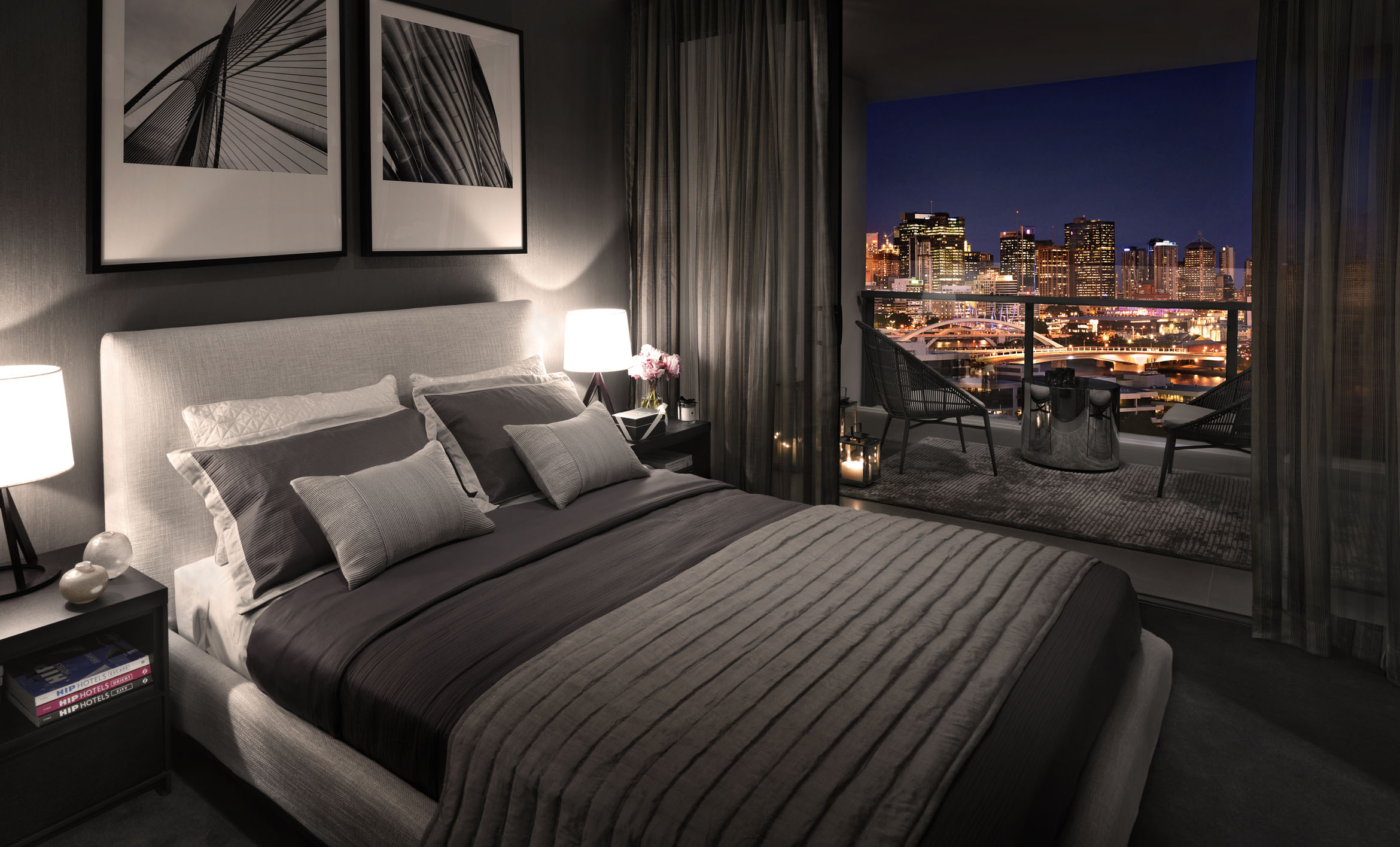 Luxury Bedroom With City Night Views